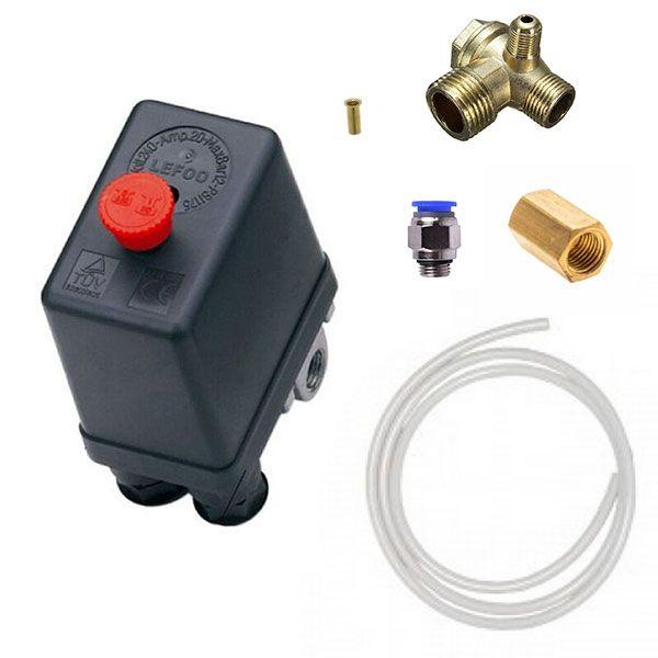 Kit completo ligação pressostato 80 - 120psi a válvula retenção com conexões