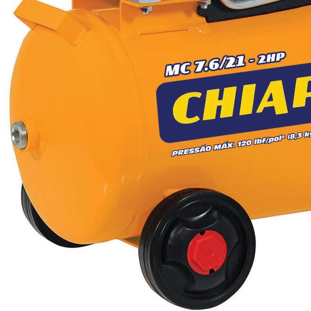 MOTOCOMPRESSOR DE AR 7,6 PÉS 21L 2HP MONO 220V CHIAPERINI