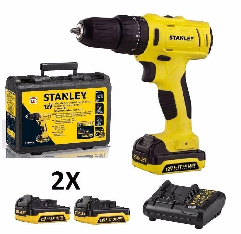 Parafusadeira Furadeira Stanley c/ 2 baterias 12V Bivolt + carregador