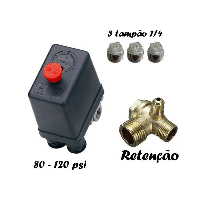 Pressostato 80-120psi + 3 bujão 1/4 + válvula retenção Compressor