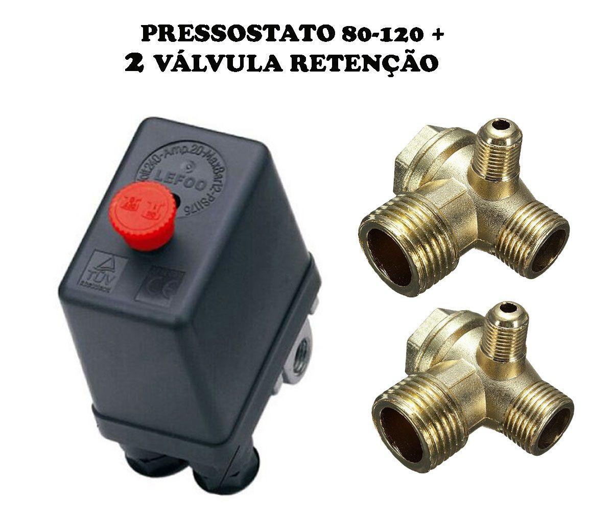 Pressostato Automático 80-120 Psi 4 Vias+2 Válvulas Retenção