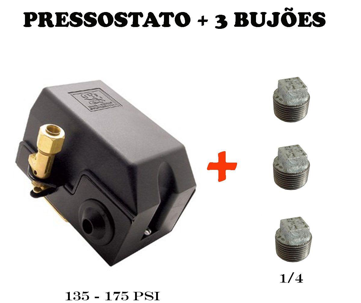 Pressostato Compressor Automático 135-175 4 Vias + Bujão 1/4