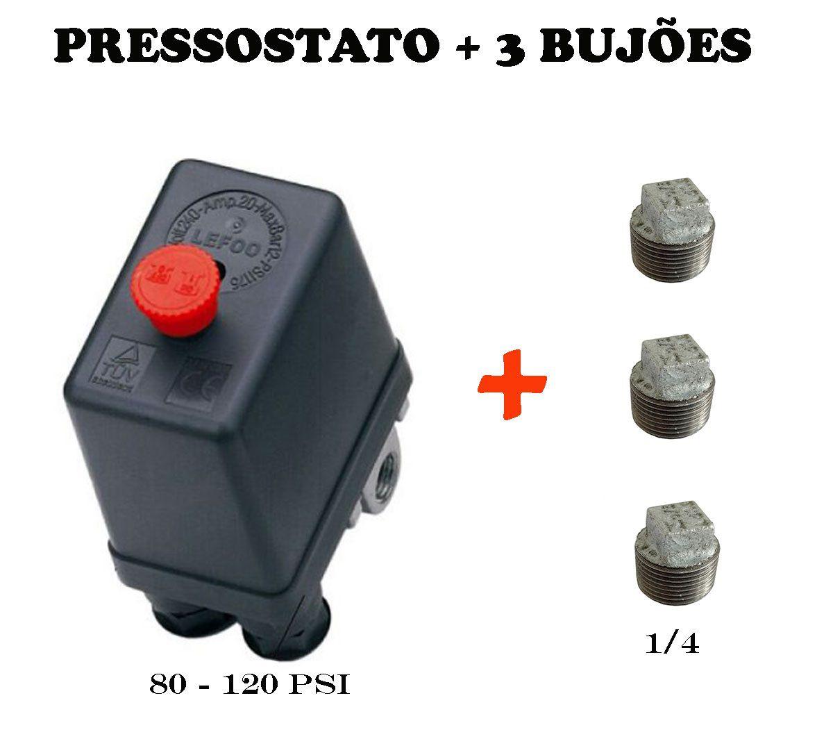 Pressostato Compressor Automático 4vias 80-120 + 3 Bujão 1/4