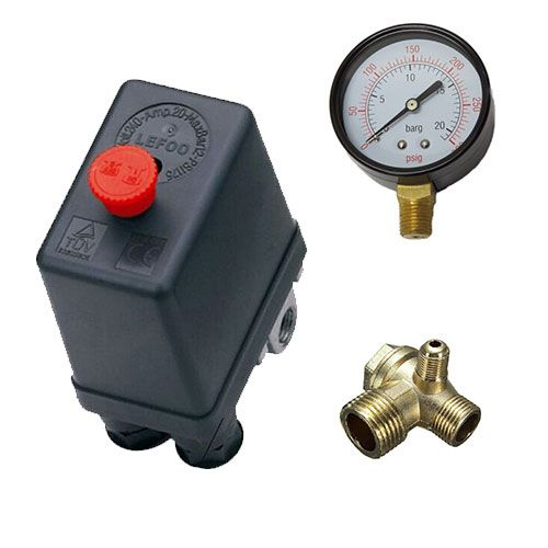 Pressostato Compressor Automático 80-120 botão + válvula retenção + manometro