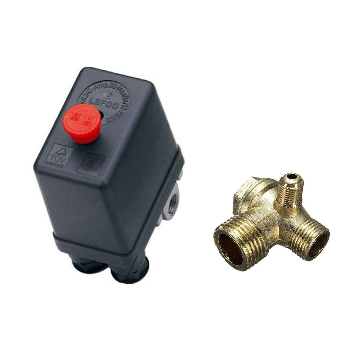 Pressostato Motocompressor 80 - 120 Psi + Válvula Retenção
