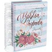 Bíblia Jornada Anote Com Espiral Capa Aquarela Azul Flores Linguagem Fácil
