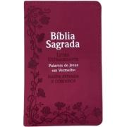 Bíblia Capa Luxo Pink Harpa Corinhos Letra Ultragigante Palavras de Jesus em Vermelho