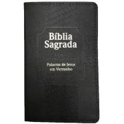Bíblia Capa Luxo Preta Harpa Corinhos Letra Ultragigante Palavras de Jesus em Vermelho