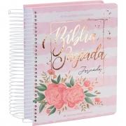Bíblia Jornada Anote Com Espiral Capa Aquarela Rosa Flores Linguagem Fácil