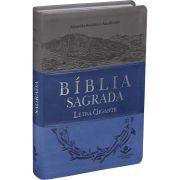 Bíblia Sagrada Letra Gigante - Capa Couro Azul e Cinza - Luxo