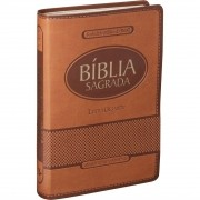 Bíblia Sagrada Letra Gigante Com Índice Capa Luxo Marrom Claro - ARA