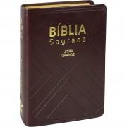Bíblia Sagrada  Letra Grande Índice Linguagem Fácil Couro Marrom Tamanho Pequeno