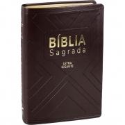 Bíblia Sagrada Média Letra Gigante NAA Capa Luxo Marrom Com Índice