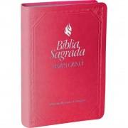Bíblia Sagrada Pequena Com Fonte Benção | Harpa Cristã | Capa Luxo | Cor Rosa