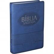 Bíblia Sagrada Letra Gigante Com Índice Capa Luxo Azul - ARA