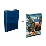 Kit Bíblia do Pescador Dr Diáz Pabón NVI Capa Luxo Azul + Manual Essencial da Bíblia SBB