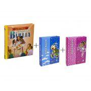 Kit Infantil  Bíblia Mig Meg Rosa + Bíblia Mig Meg Azul + Livro As 100 Melhores Histórias Da Bíblia