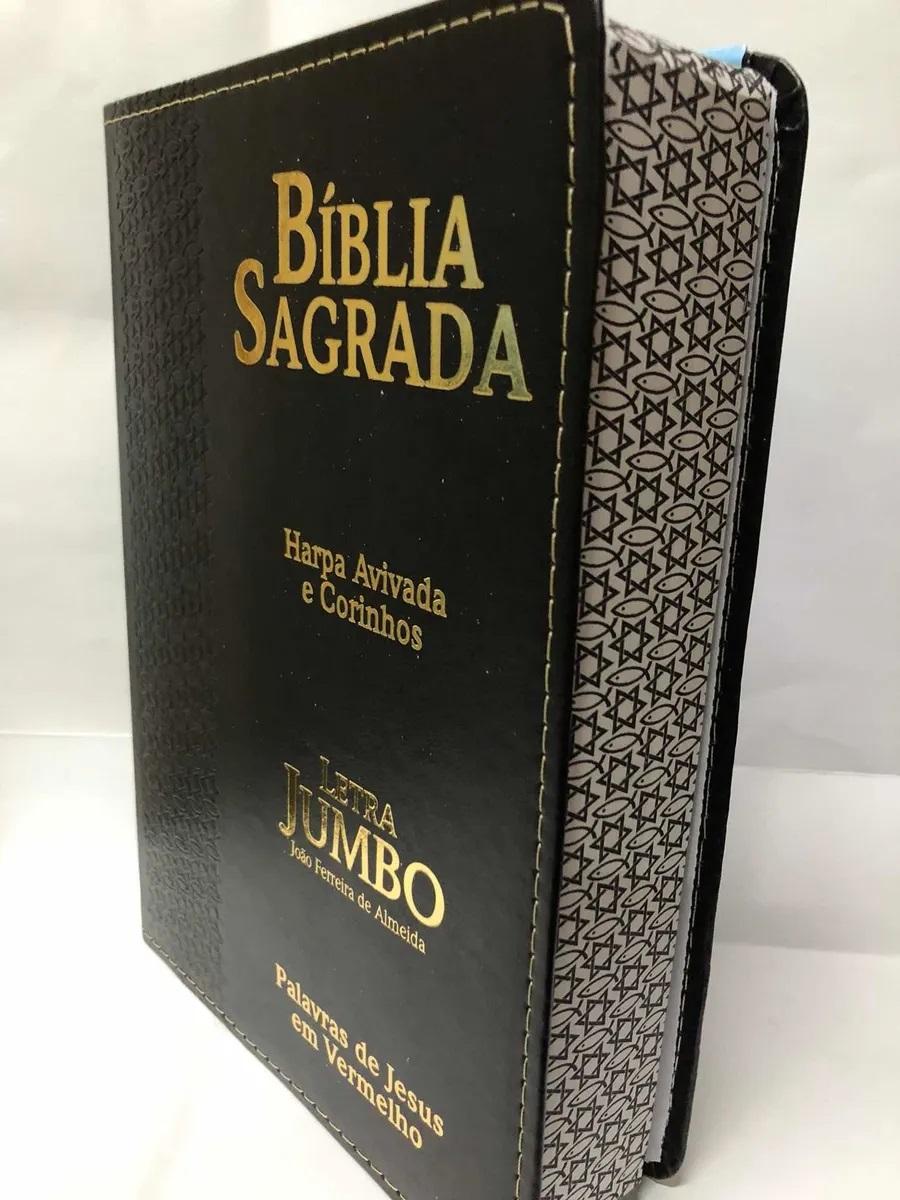 Bíblia Capa Luxo Preta Harpa Corinhos Letra Jumbo Palavras de Jesus em Vermelho