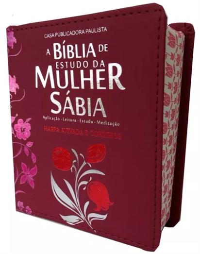 Bíblia de Estudo da  Mulher Sábia c/ Harpa Avidada e Corinhos - Bordô