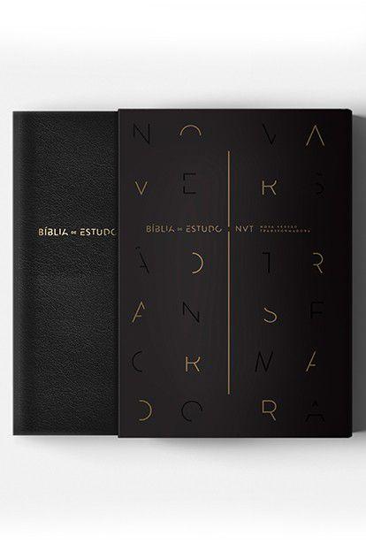 Bíblia de Estudo Capa Luxo - NVT - Capa Preta - Completa