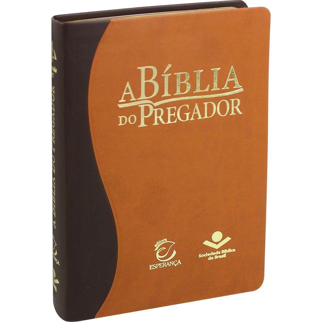 Bíblia do Pregador com Estudo e Esboço - Capa Couro Marrom  Luxo