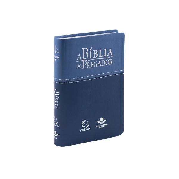 A Bíblia do Pregador Com Estudo e Esboços Tamanho Médio Capa Luxo Azul RC