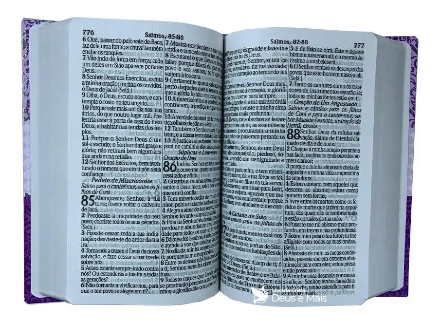 Bíblia Sagrada Evangélica Com Harpa Cristã Letra Hipergigante Capa Luxo Lilás