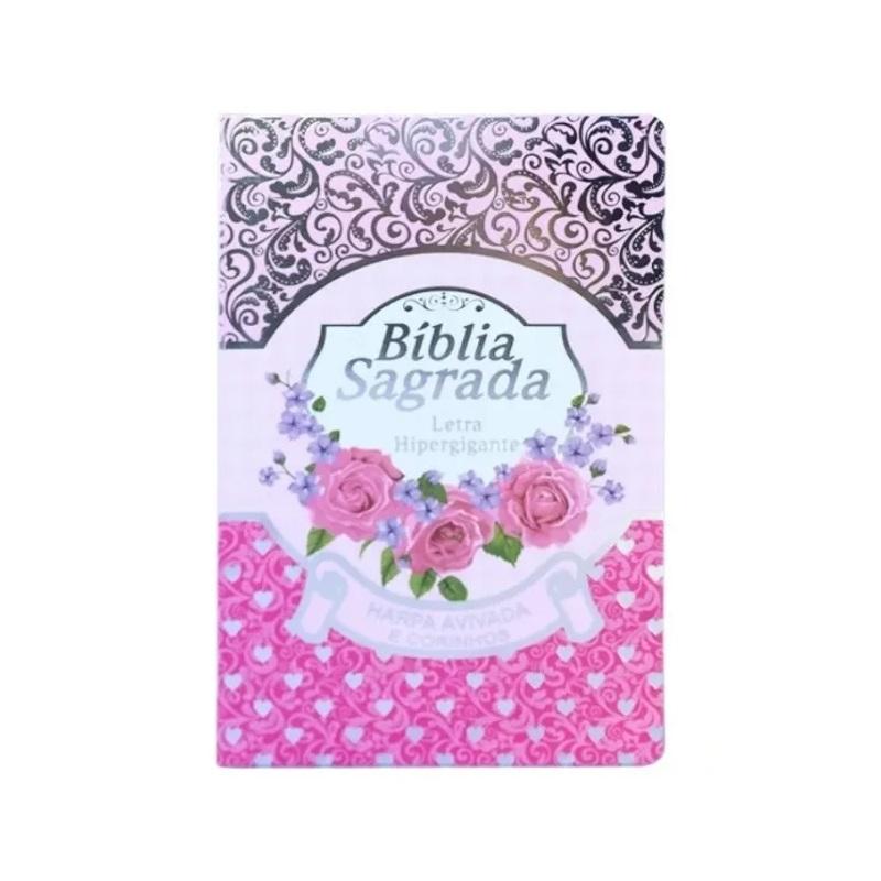 Bíblia Sagrada Evangélica Com Harpa Cristã Letra Hipergigante Capa Luxo Rosa Pink