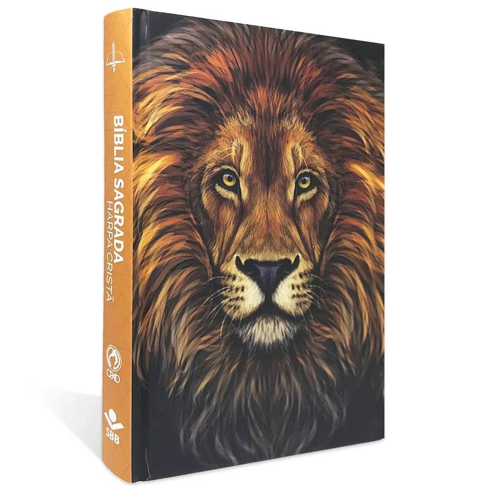 Bíblia Sagrada Leão Revista e Corrigida Com Harpa Cristã Capa Dura