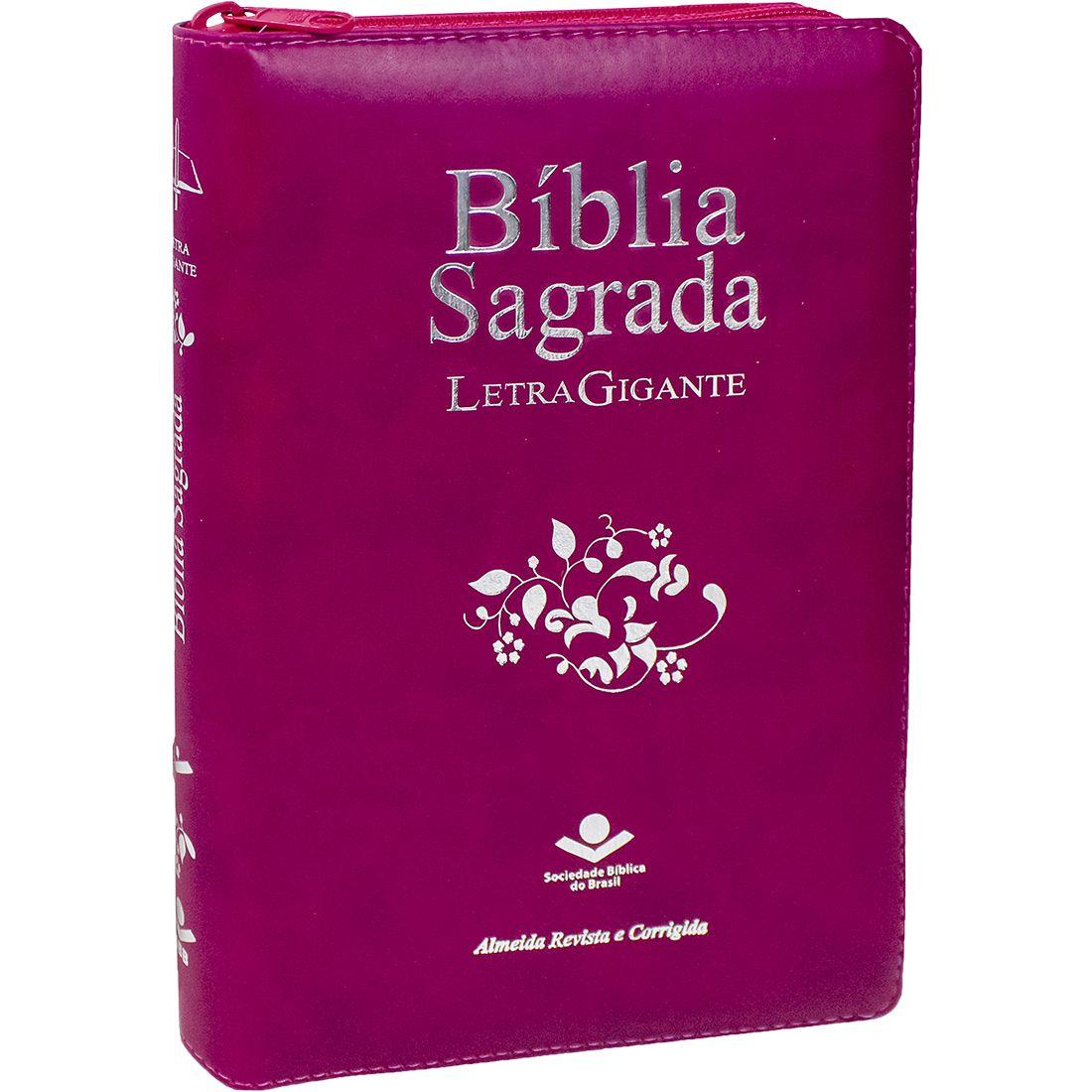 Bíblia Sagrada Letra Gigante Com Índice Ziper Vinho Luxo Palavras Jesus Em Vermelho ARC