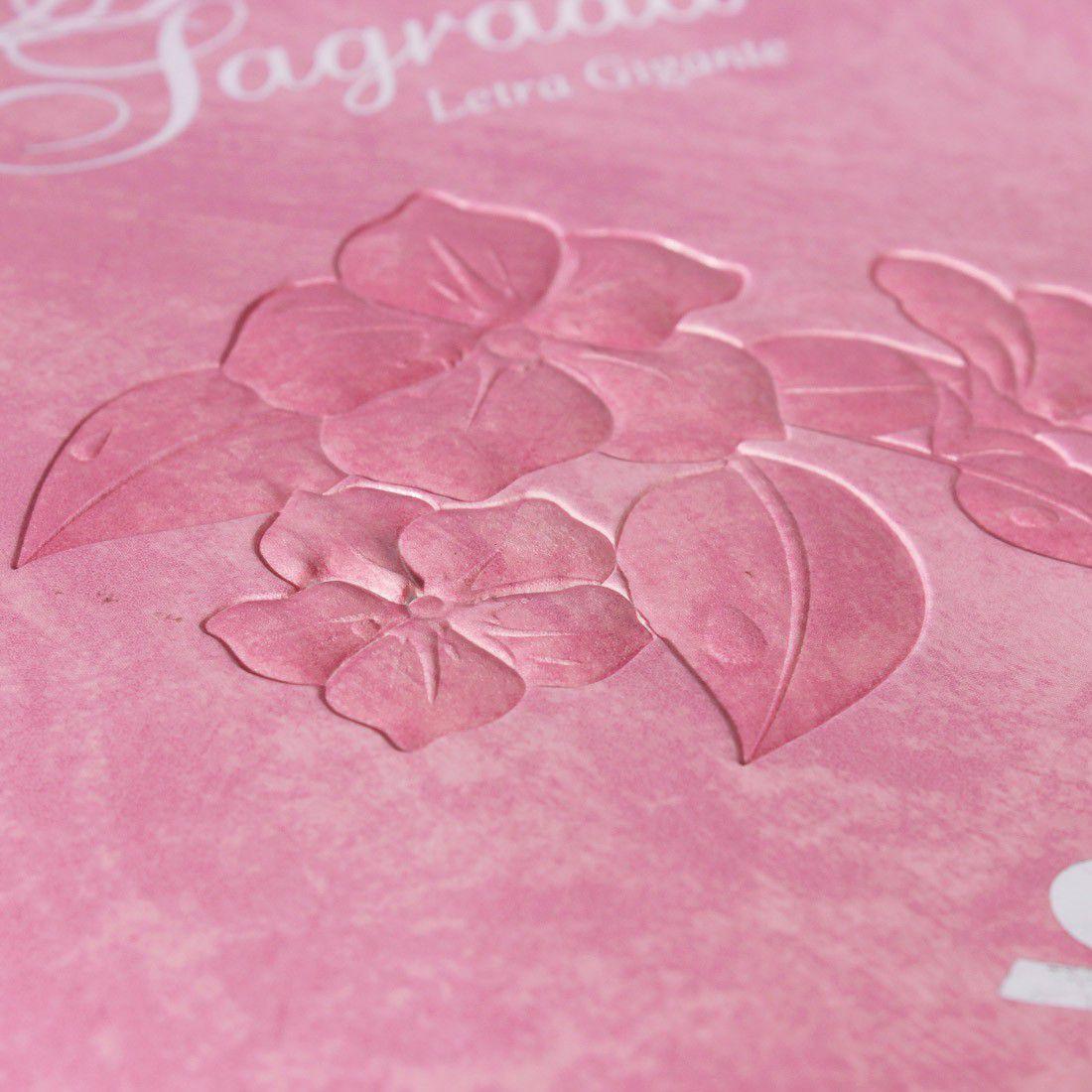 Bíblia Sagrada Letra Gigante - Rosa Flor - Linguagem Atual