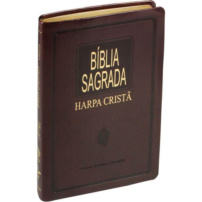 Bíblia Sagrada Slim Com Harpa Cristã | Capa Luxo Couro Síntético Marrom