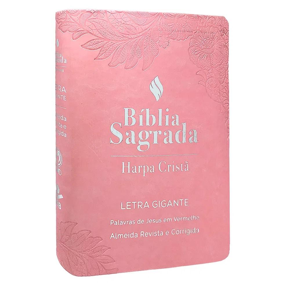 Bíblia Sagrada Com Harpa Letra Gigante Palavras de Jesus em Vermelho Capa Luxo Rosa
