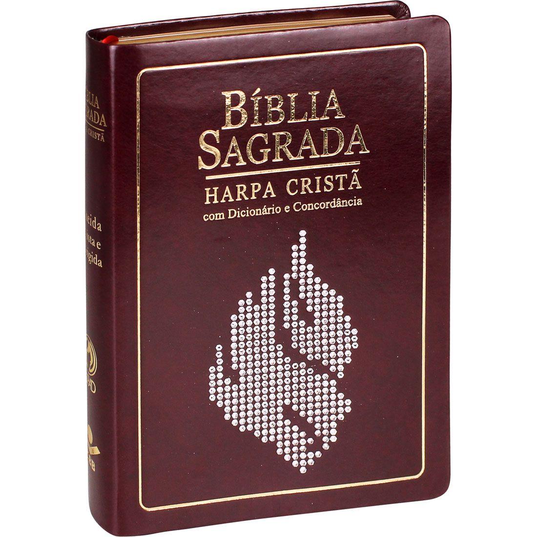 Bíblia Sagrada Letras Grande Harpa Índice Dicionário Concordância Palavras Jesus Em Vermelho Marrom Nobre Com Pedras