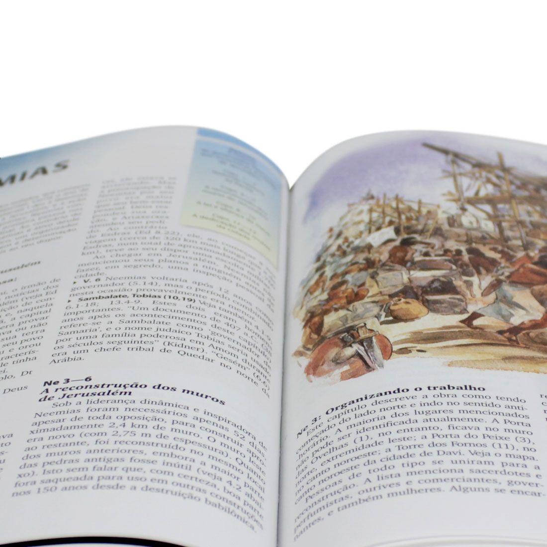 Kit Bíblia Sagrada Letra Gigante Capa Couro Azul/Cinza + Manual Bíblico SBB 3ª Edição