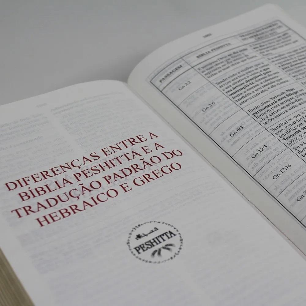 Kit Bíblia Sagrada Peshitta Com Referências Vinho Luxo + Manual da Peshitta de Fernando Lúcius