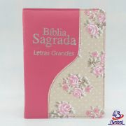 Bíblia Letra Grande ARC Zíper (Rosa Flor)