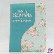 Bíblia Letra Grande ARC Zíper (Verde Água Flor)