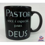 """Caneca Porcelana Grande """"Pastor"""" (Preta)"""