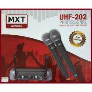Microfone MXT Duplo Sem Fio de Mão Profissional UHF-202