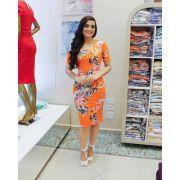 Vestido Cibele em Malha Visco Floral Trend (Laranja)