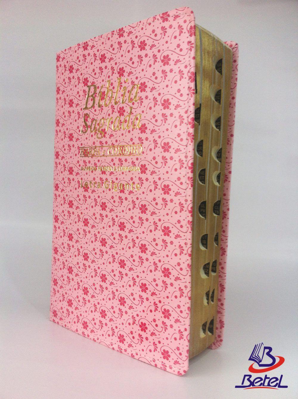 Bíblia com Harpa Letra Gigante ARC Luxo (Rosa)  - Livraria Betel