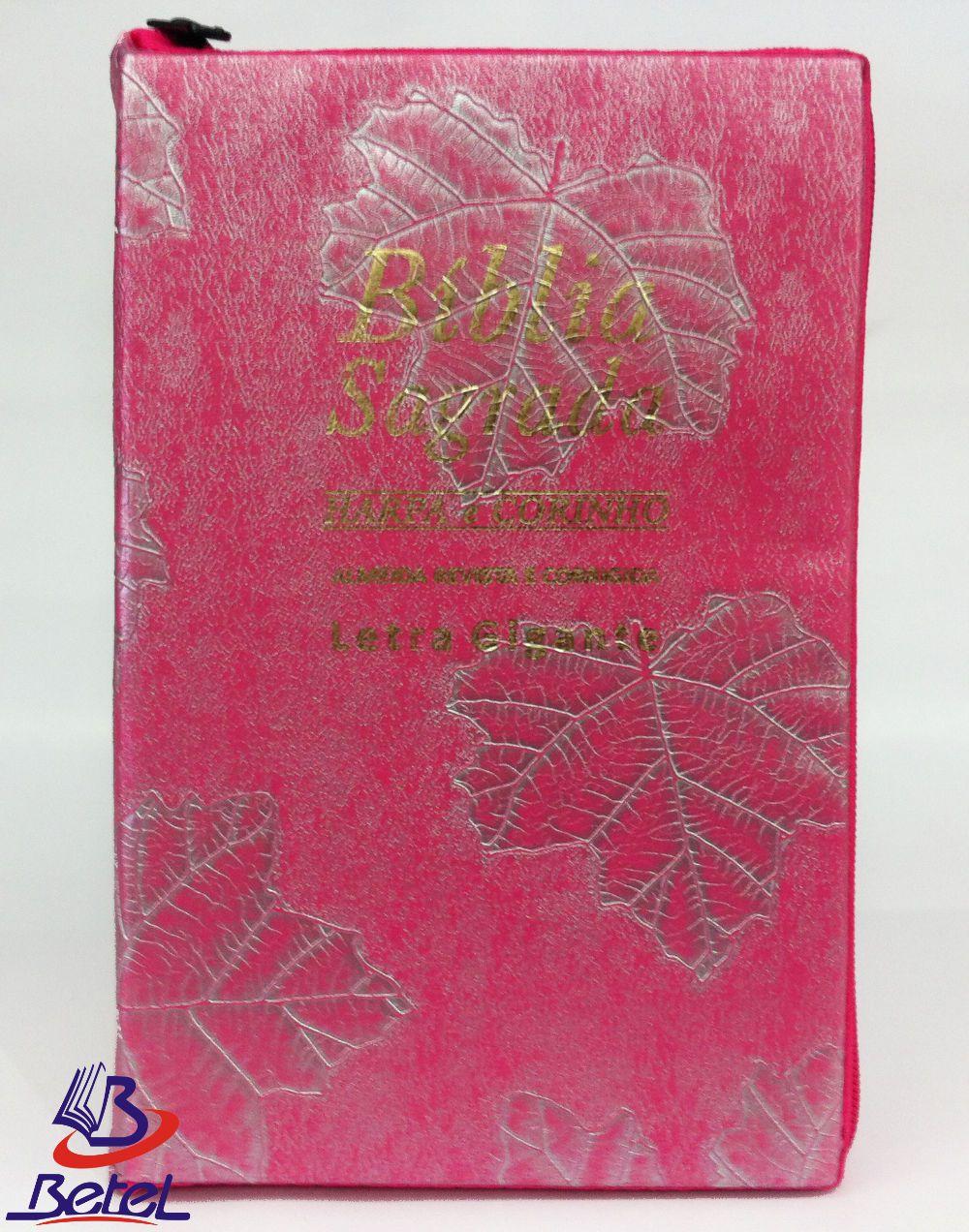 Bíblia com Harpa Letra Gigante ARC Zíper (Rosa Pink)  - Livraria Betel