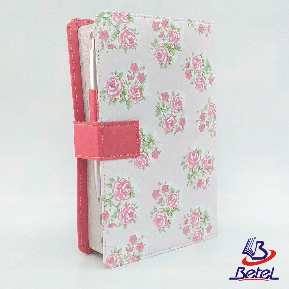 Bíblia com Harpa Letra Gigante Fecho Botão + Caneta (Rosa Flor)  - Livraria Betel
