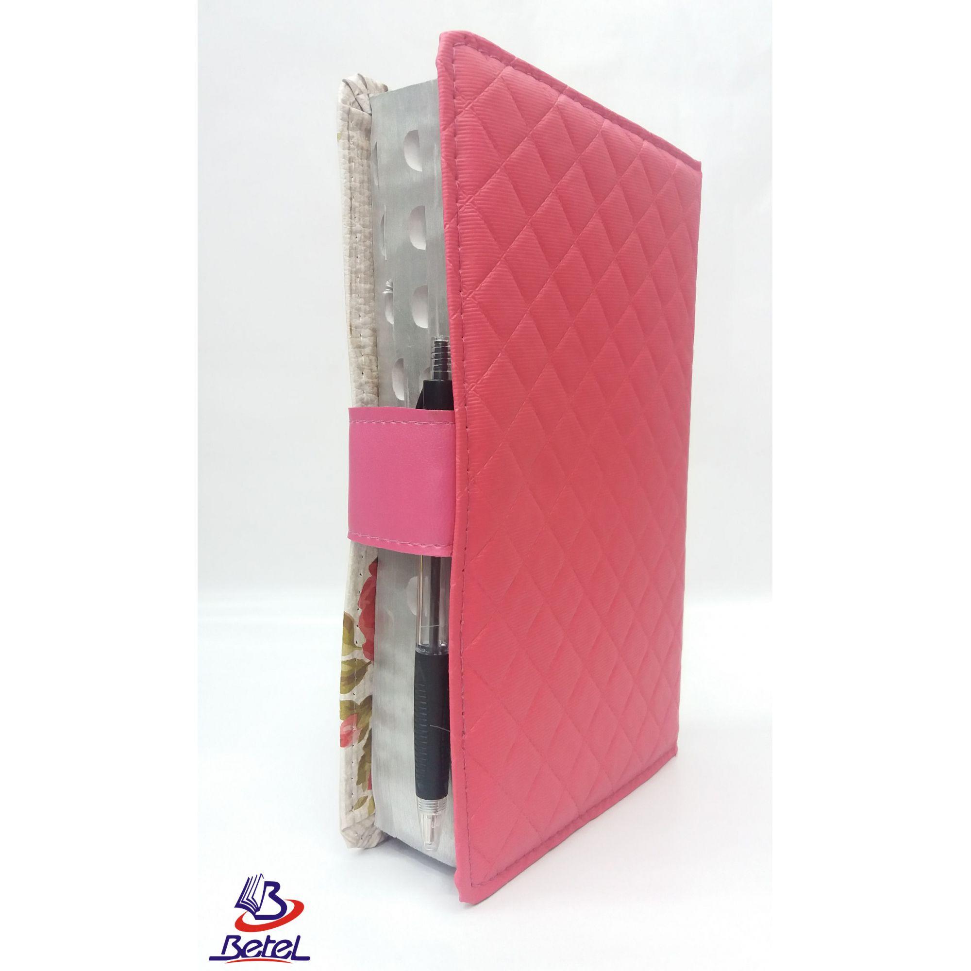 Bíblia com Harpa Letra Gigante ARC Fecho Botão + Caneta (Rosa Flor)  - Livraria Betel