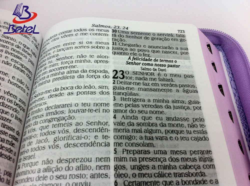 Bíblia com Harpa Letra HiperGigante ARC Zíper (Violeta)  - Livraria Betel