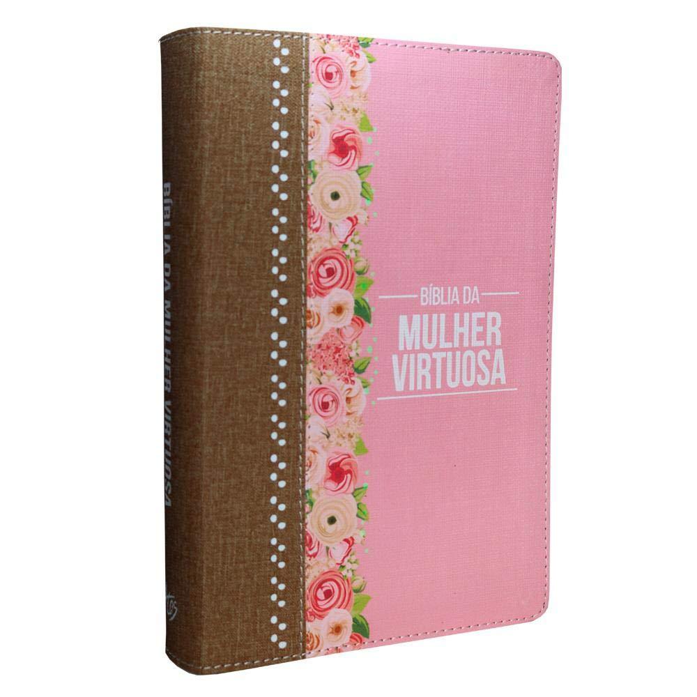 Bíblia da Mulher Virtuosa (Rosa e Marrom)  - Livraria Betel