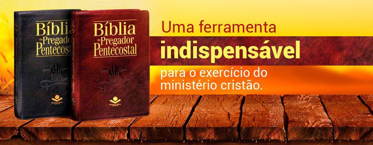 Bíblia do Pregador Pentecostal Luxo Preta  - Livraria Betel