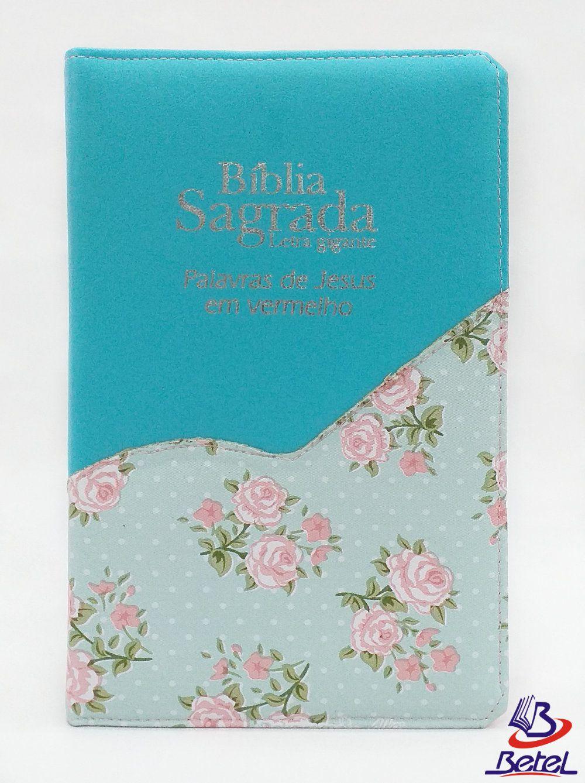 Bíblia Letra Gigante PJV ARC Zíper (Verde Água Flor)  - Livraria Betel