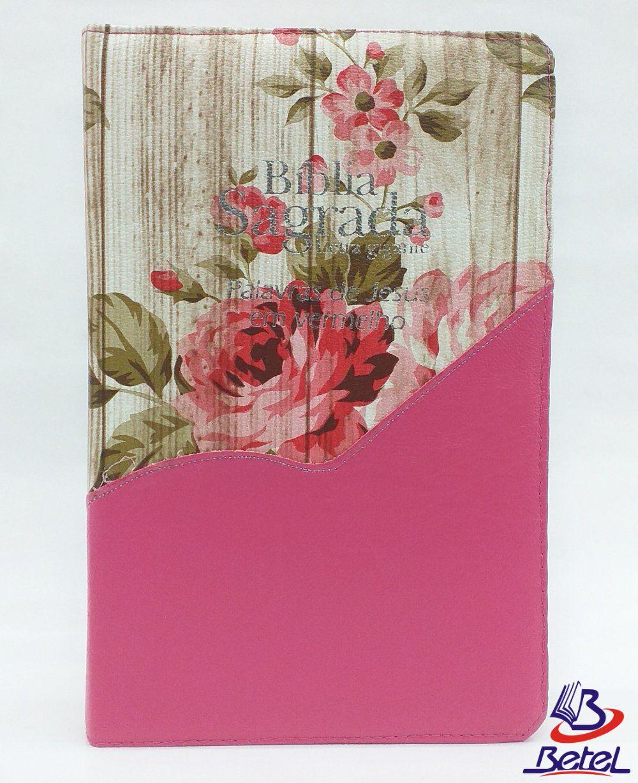 Bíblia Letra Gigante PJV ARC Zíper (Rosa Flor)  - Livraria Betel